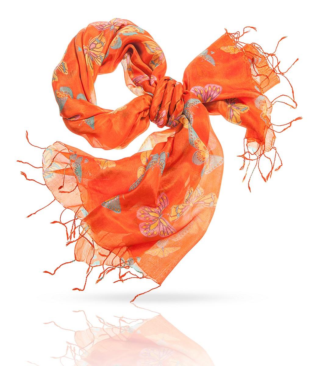 Палантин Michel Katana, цвет: оранжевый. S-BUTTERFLY. Размер 110 см х 180 смS-BUTTERFLY/ORANGEЖенственность и легкость этого очаровательного шелкового палантина делают его универсальным подарком для прекрасной дамы любого возраста - а если дама умеет любить себя, она и сама подарит себе эту радость. Даже в самом строгом деловом образе, дополненном этим аксессуаром, станет больше радости, нежности и света. Тончайшая фактура позволяет завязать палантин множеством разных способов, а если вы расправите палантин на плечах, вашу фигуру окружит сонм прекрасных бабочек. Что может быть очаровательнее?