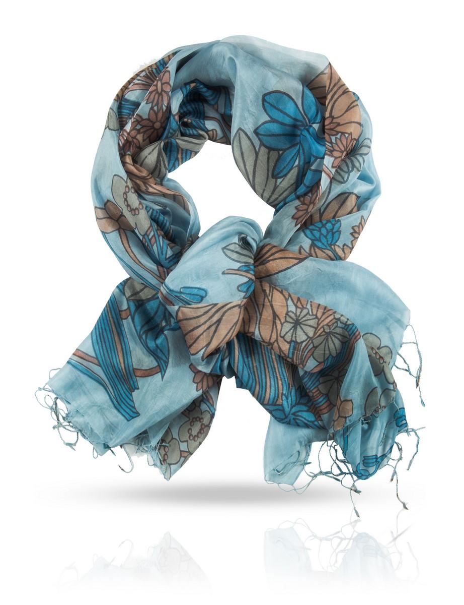 Палантин Michel Katana, цвет: голубой, бежевый. S-MUSH.FLOW. Размер 110 см х 180 смS-MUSH.FLOW/DEWЯркий, невесомый шелковый палантин поможет вам создать запоминающийся образ. Натуральный 100% шелк ручного плетения и роспись в технике холодного батика делают этот палантин настоящим произведением искусства, поставленным на службу вашей красоты.