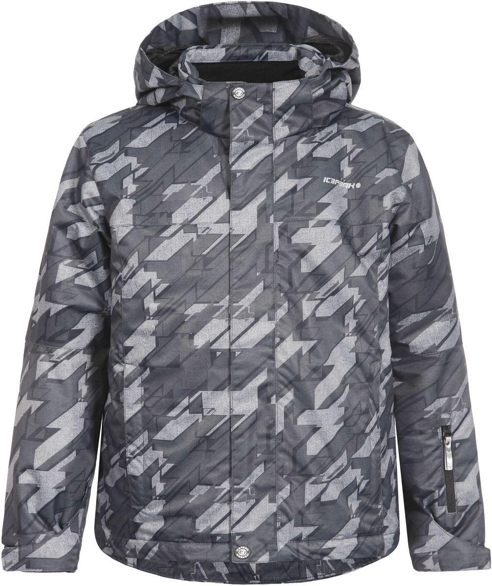 Куртка для мальчика Icepeak Herman Jr, цвет: черный, серый. 650029571IV. Размер 128650029571IV_990Куртка для мальчика Icepeak Herman Jr выполнена из 100% полиэстера. Материал изготовлен при помощи технологии Icemax, которая обеспечит вашему ребенку надежную защиту от ветра и влаги. В качестве подкладки также используется полиэстер. Утеплителем служит материал FinnWad, который обладает высокими теплоизоляционными свойствами. Модель с воротником-стойкой и съемным капюшоном застегивается на застежку-молнию с защитой для подбородка и имеет ветрозащитную планку на липучках и кнопках. Капюшон пристегивается к изделию на кнопки. Низ рукавов дополнен эластичными вставками и хлястиками на липучках, а низ изделия - несъемной манжетой с прорезиненным нижним краем. Спереди расположены два прорезных кармана на застежках-молниях, а с внутренней стороны - накладной карман-сетка и прорезной карман на застежке-молнии. На левом рукаве расположен небольшой прорезной карман на застежке-молнии. Куртка оснащена специальными деталями Childrens safety для дополнительной безопасности ребенка во время занятий спортом и активного отдыха на улице.