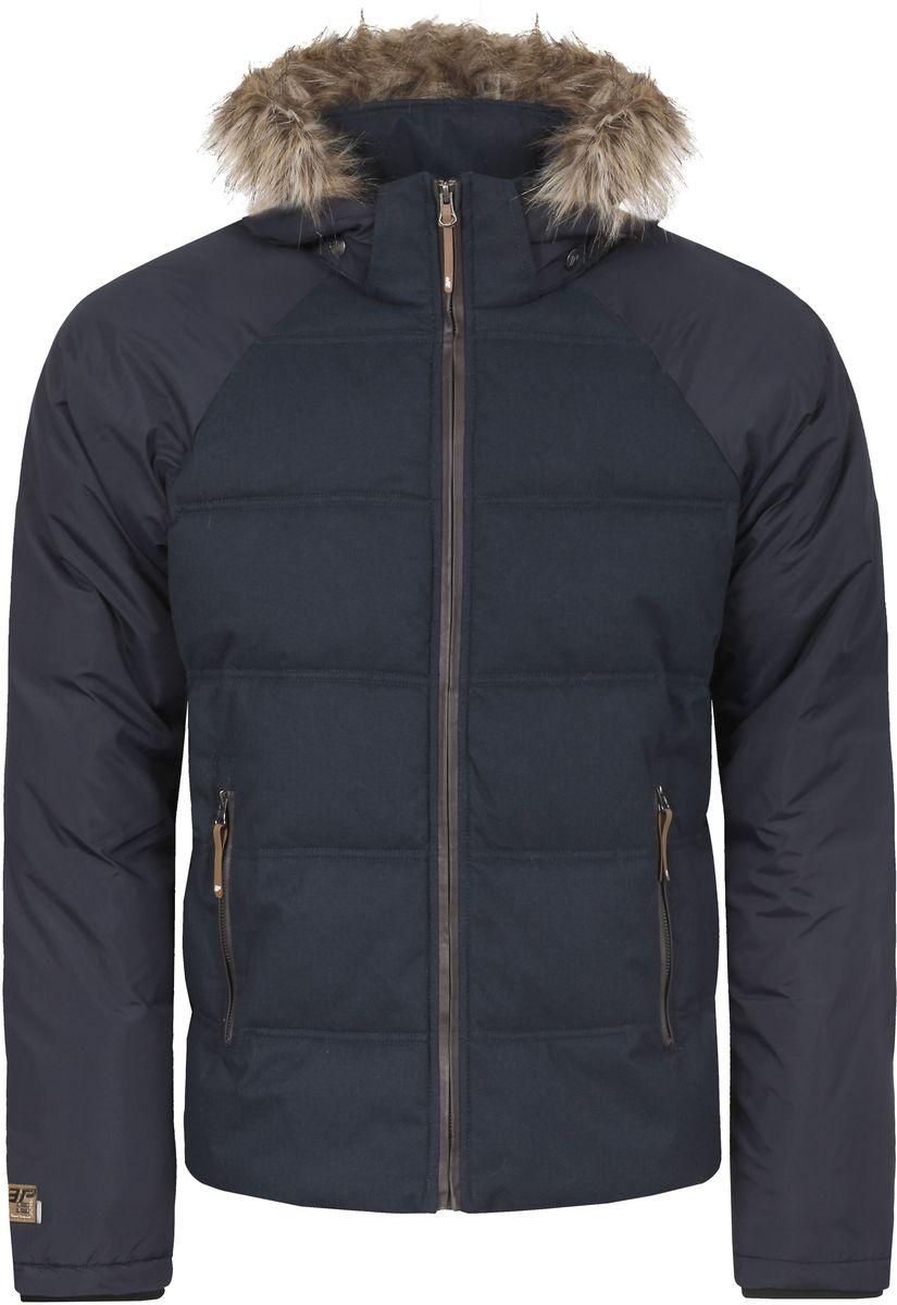 Куртка мужская Icepeak Tony, цвет: темно-синий. 656045562IV. Размер M (50)656045562IV_390Мужская куртка Icepeak Tony выполнена из водонепроницаемой и дышащей ткани - высококачественного полиэстера. Подкладочный материал Soft Touch легкий и обладает хорошей теплоемкостью. В качестве наполнителя используется FinnWad - 100% полиэстер. Модель с воротником-стойка и съемным капюшоном застегивается на застежку-молнию. Капюшон, оформленный искусственным мехом, пристегивается к куртке с помощью застежки-молнии, кнопок и липучек. Изделие оснащено двумя прорезными карманами на застежках-молниях, с внутренней стороны - прорезным карманом на застежке-молнии и сетчатым карманом. Рукава дополнены внутренними трикотажными манжетами. Объем капюшона регулируется при помощи шнурка. Низ изделия также оснащен эластичным шнурком со стопперами. Светоотражающие элементы увеличивают вашу безопасность в темное время суток.