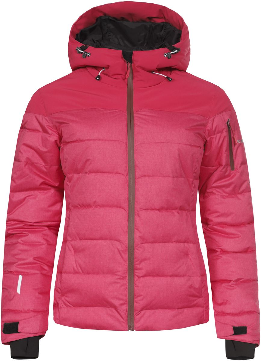 Куртка женская Icepeak Keira, цвет: розовый. 653233593IV. Размер 40 (46)653233593IV_640Женская куртка Icepeak Keira выполнена из водонепроницаемой и дышащей ткани - высококачественного полиэстера. Подкладочный материал Soft Touch легкий и обладает хорошей теплоемкостью. В качестве наполнителя используется FinnWad - 100% полиэстер. Модель с несъемным капюшоном застегивается на застежку-молнию. Изделие оснащено двумя прорезными карманами на застежках-молниях, с внутренней стороны - прорезным карманом на застежке-молнии, отверстием для наушников и двумя сетчатыми карманами, на рукаве - прорезным карманом на застежке-молнии. Рукава дополнены внутренними текстильными манжетами и регулируются с помощью хлястиков с липучками. Объем капюшона регулируется при помощи эластичного шнурка. Низ изделия также оснащен эластичным шнурком со стопперами. С внутренней стороны куртка имеет снегозащитный манжет на кнопках. Светоотражающие элементы увеличивают вашу безопасность в темное время суток.