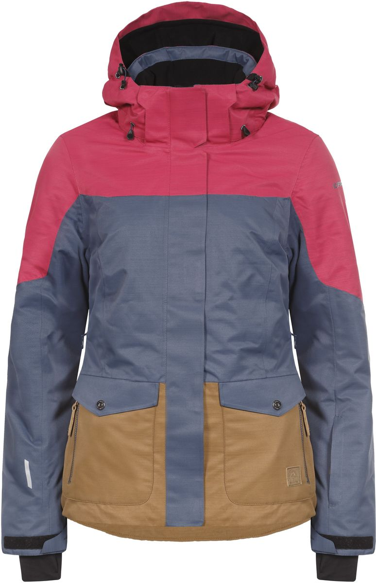 Куртка женская Icepeak Katlyn, цвет: темно-синий, розовый, светло-коричневый. 653229576IV. Размер 42 (48)653229576IV_371Женская куртка Icepeak Katlyn выполнена из непромокаемой ветрозащитной ткани, утеплена наполнителем FinnWad. Куртка с воротником-стойкой и съемным капюшоном на застежке-молнии, липучках и кнопках застегивается на удобную застежку-молнию спереди. Капюшон дополнен шнурком-кулиской со стопперами. Рукава оснащены хлястиками на липучках и внутренними манжетами с прорезями для большого пальца. По бокам куртки, от линии талии до середины рукавов, расположены вентиляционные отверстия с сетчатыми вставками, закрывающиеся на застежки-молнии. Спереди расположены два накладных кармана на застежках-молниях, изнутри - втачной карман на застежке-молнии и накладной карман-сетка. Модель дополнена съемной противоснежной юбкой на застежке-молнии. Швы проклеены. Куртка имеет светоотражающие элементы.