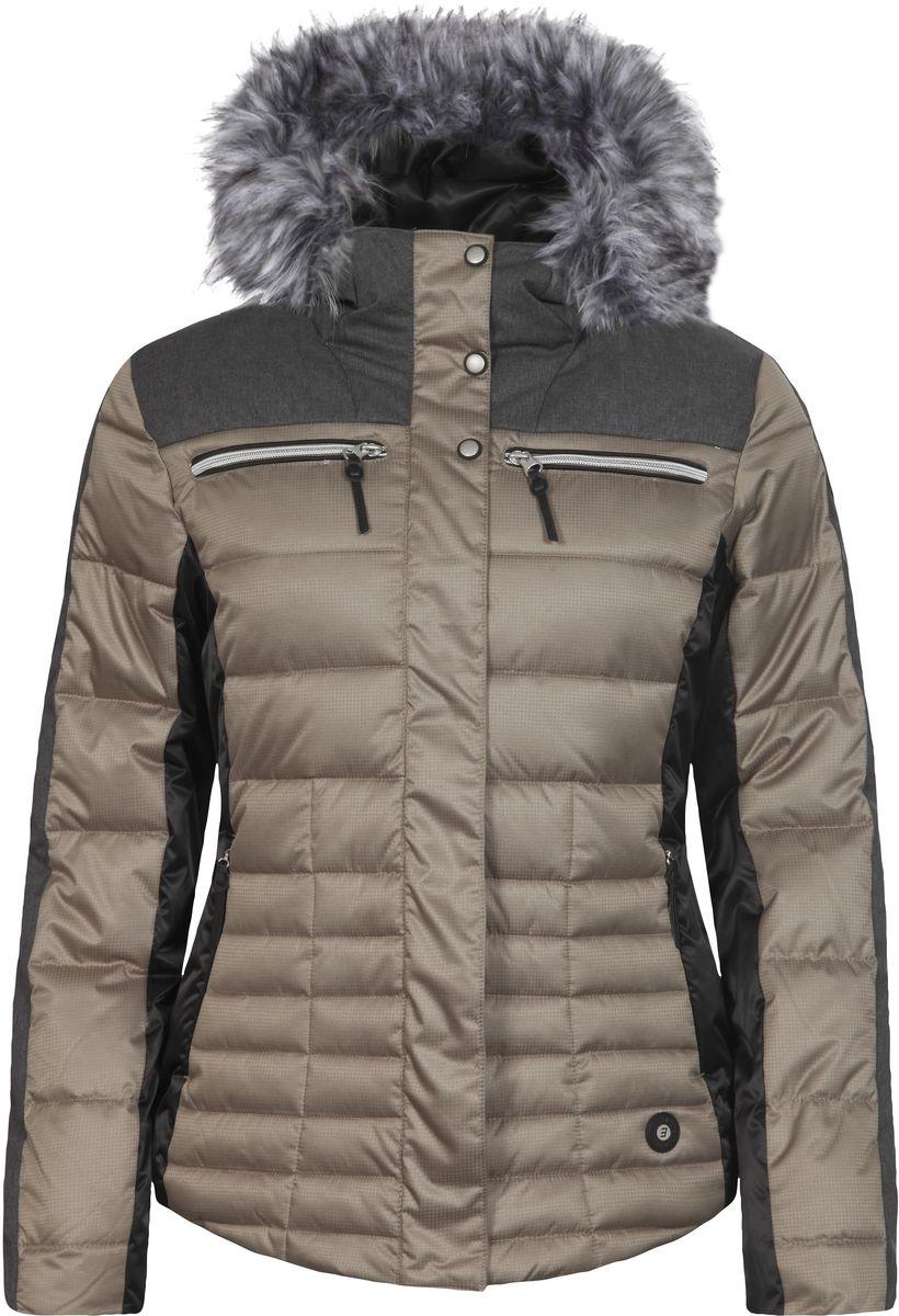 Куртка женская Icepeak Cathy, цвет: светло-оливковый, серый. 653224512IV. Размер 34 (40)653224512IV_065Куртка Icepeak, изготовленная из водоотталкивающей и ветрозащитной ткани, которая создает оптимальный микроклимат внутри куртки, утеплена синтепоном. В качестве подкладкииспользуется полиамид. Куртка с несъемным капюшоном застегивается на застежку-молнию и имеет ветрозащитный клапан на кнопках. Капюшон оформлен съемным искусственным мехом на застежке-молнии и регулируетсяс помощью эластичного шнурка-кулиски со стопперами. Куртка оформлена четырьмя втачными карманами на застежках-молниях спереди, с внутренней стороны расположен один втачной карман на молнии. Низ куртки дополнен шнурком-кулиской со стопперами. Также модель дополнена снегозащитной юбкой на кнопках.Изделие оснащено светоотражающими элементами.