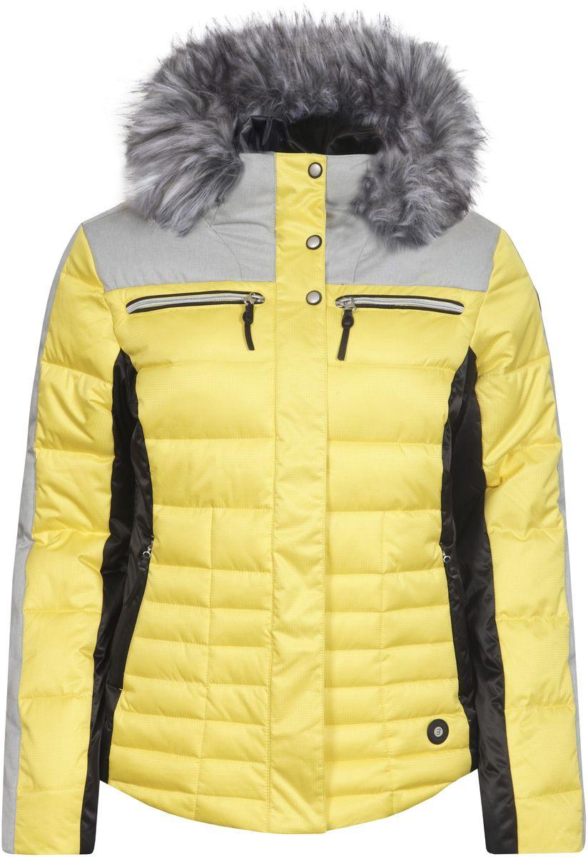 Куртка женская Icepeak Cathy, цвет: желтый, черный. 653224512IV. Размер 36 (42)653224512IV_410Куртка Icepeak, изготовленная из водоотталкивающей и ветрозащитной ткани, которая создает оптимальный микроклимат внутри куртки, утеплена синтепоном. В качестве подкладкииспользуется полиамид. Куртка с несъемным капюшоном застегивается на застежку-молнию и имеет ветрозащитный клапан на кнопках. Капюшон оформлен съемным искусственным мехом на застежке-молнии и регулируетсяс помощью эластичного шнурка-кулиски со стопперами. Куртка оформлена четырьмя втачными карманами на застежках-молниях спереди, с внутренней стороны расположен один втачной карман на молнии. Низ куртки дополнен шнурком-кулиской со стопперами. Также модель дополнена снегозащитной юбкой на кнопках.Изделие оснащено светоотражающими элементами.