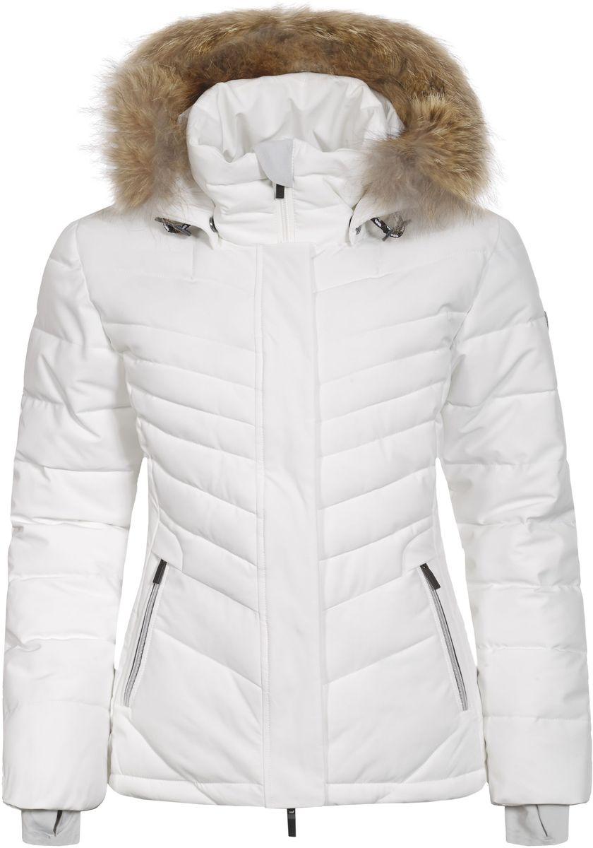 Куртка женская Luhta Petrissa, цвет: белый. 636467535L7V. Размер 40 (46)636467535L7V_010Женская куртка Luhta Petrissa выполнена из непромокаемой ветрозащитной ткани. Куртка с воротником-стойкой и съемным капюшоном на застежке-молнии застегивается на удобную застежку-молнию спереди и имеет ветрозащитный клапан на кнопках. Капюшон дополнен шнурком-кулиской со стопперами и украшен съемным искусственным мехом. Рукава оснащены внутренними трикотажными манжетами. Спереди расположены два втачных кармана на застежках-молниях, под ветрозащитным клапаном находится втачной карман на застежке-молнии. По низу куртка дополнена шнурком-кулиской.