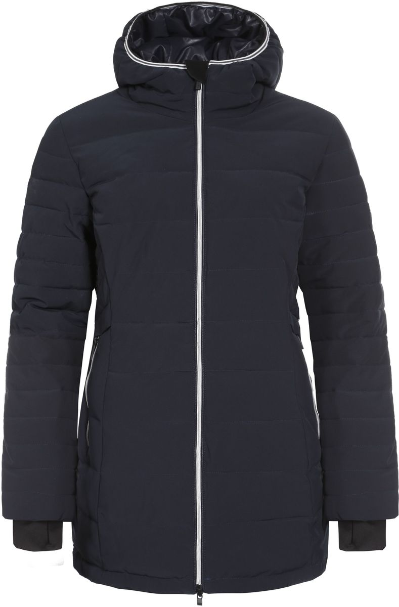 Куртка женская Luhta Petrina, цвет: темно-синий. 636466535LV. Размер 44 (50)636466535LV_390Женская куртка Icepeak Petrina выполнена из эластичного полиэстера. Наполнитель - материал FinnWad.Куртка с несъемным капюшоном застегивается на удобную застежку-молнию спереди. Молния дополнена защитой для подбородка. Рукава оснащены внутренними манжетами. Спереди расположены два втачных кармана на застежках-молниях, изнутри - втачной карман на застежке-молнии. Низ куртки дополнен шнурком-кулиской со стопперами.