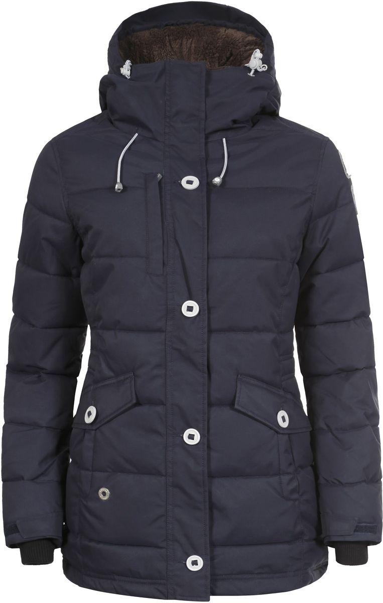 Куртка женская Luhta Benita, цвет: темно-синий. 636425346LV. Размер 44 (50)636425346LV_390Женская куртка Luhta Berit выполнена из прочного полиамида. Наполнитель - материал FinnWad, изготовленный из полиэстера.Куртка с воротником-стойкой и съемным капюшоном застегивается на удобную застежку-молнию спереди и имеет ветрозащитный клапан на пуговицах. Капюшон дополнен шнурком-кулиской со стопперами. Рукава оснащены хлястиками на липучках и дополнены внутренними трикотажными манжетами. Спереди расположены два открытых втачных кармана, изнутри - втачной карман на застежке-молнии и накладной карман-сетка. Низ куртки оснащен внутренним шнурком-кулиской. Обхват талии также регулируется при помощи внутреннего шнурка-кулиски.