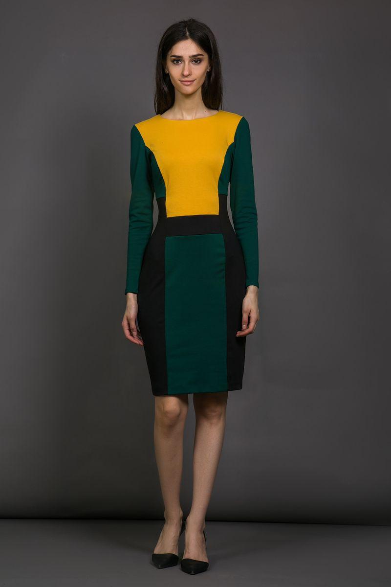 Платье La Via Estelar, цвет: темно-зеленый, черный, желтый. 14998-2. Размер 4814998-2Платье La Via Estelar выполнено из высококачественного комбинированного материала. Платье-миди с круглым вырезом горловины и длинными рукавами застегивается на потайную застежку-молнию расположенную в боковом шве. Платье декорировано вставками из материала разных цветов.