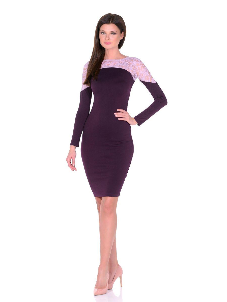 Платье La Via Estelar, цвет: фиолетовый. 14672-2. Размер 4814672-2Роскошное платье La Via Estelar выполнено из вискозы и полиэстера с добавлением лайкры. Верх платья оформлен кружевной вставкой. Модель миди-длины с круглым вырезом горловины и длинными рукавами. Имеет скрытую застежку-молнию сбоку.