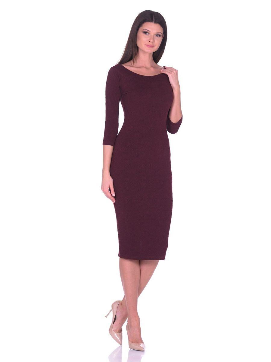 Платье La Via Estelar, цвет: бордовый. 14671-2. Размер 4614671-2Идеальное платье на любой случай La Via Estelar выполнено из эластичного фактурного материала. Модель облегающего фасона, длины ниже колена, с рукавом три четверти, разрезом сзади и вырезом горловины лодочка. Платье отлично подчеркивает фигуру, создавая привлекательный образ.