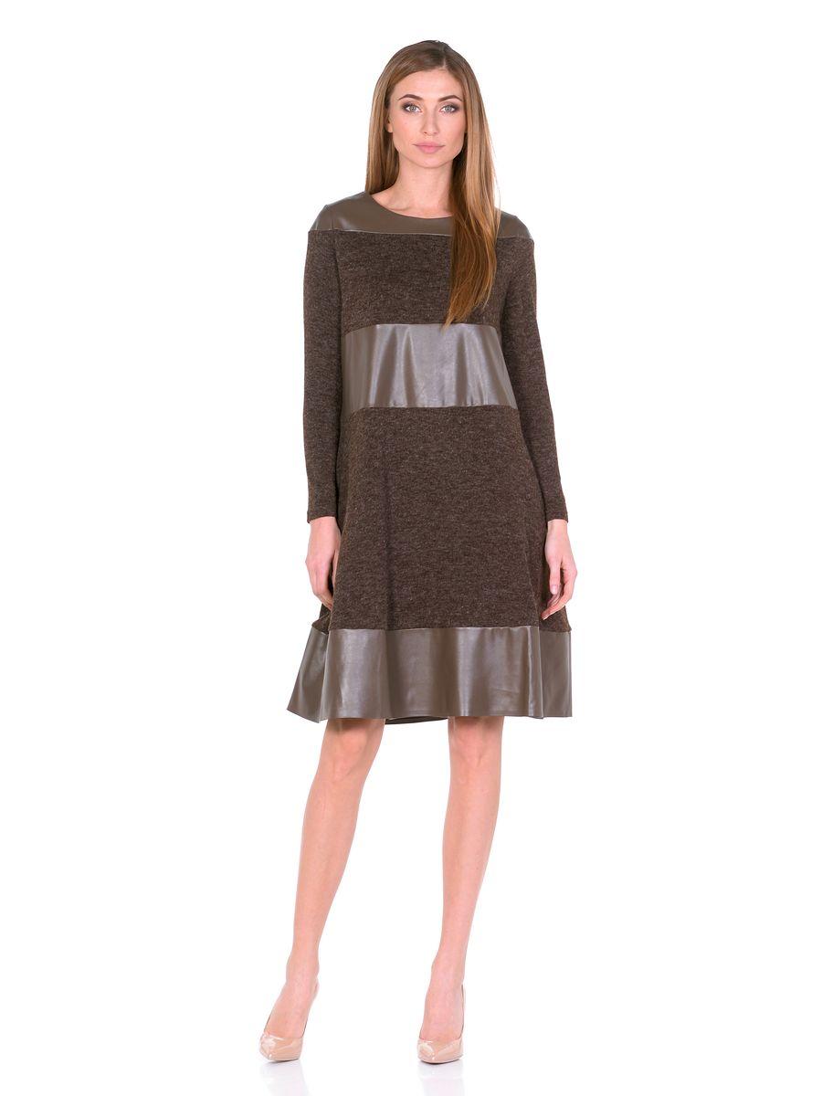 Платье La Via Estelar, цвет: коричневый. 14670-2. Размер 4414670-2Платье La Via Estelar выполнено из полиэстера, вискозы и эластана. Модель-миди с круглым вырезом горловины и длинным рукавом оформлена вставками из искусственной кожи. По бокам расположены втачные карманы.