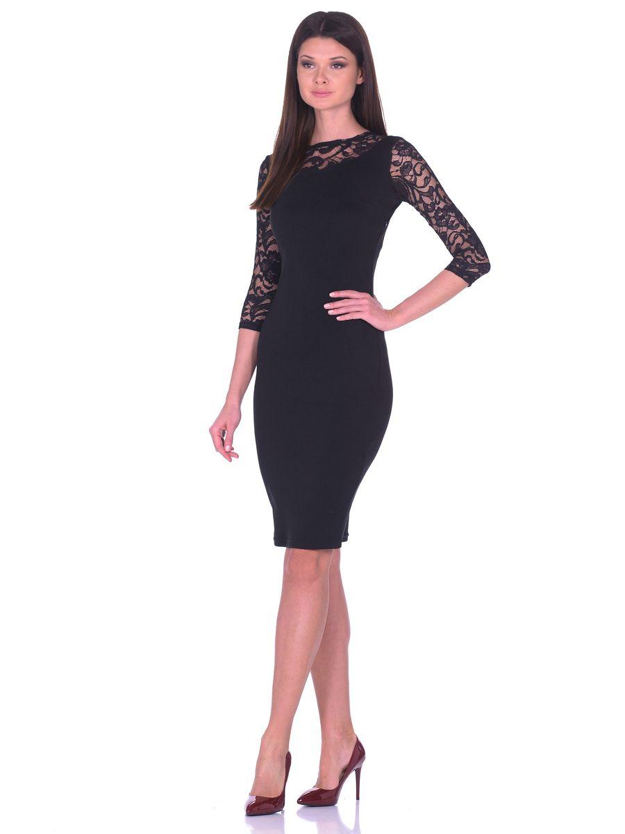 Платье La Via Estelar, цвет: черный. 14669. Размер 4814669Облегающее платье La Via Estelar имеет круглый вырез горловины, скрытую застежку-молнию сбоку и рукава 3/4. Украшено кружевными вставками.