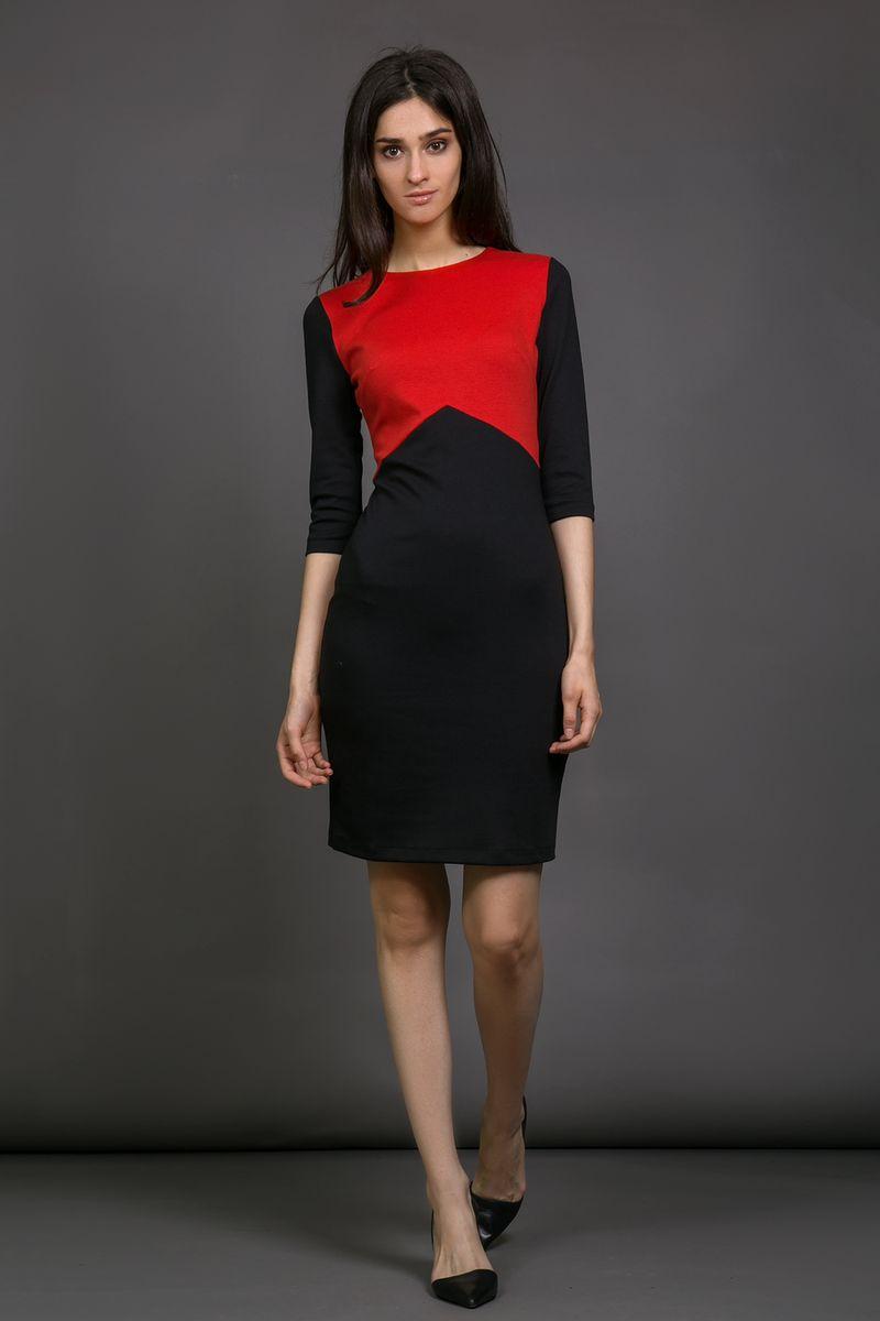 Платье La Via Estelar, цвет: красный, черный. 13925-1. Размер 4213925-1Платье La Via Estelar выполнено из вискозы, полиэстера и лайкры. Модель с круглым вырезом горловины и рукавом 3/4дополнена контрастной вставкой. Платье застегивается сзади на застежку-молнию.
