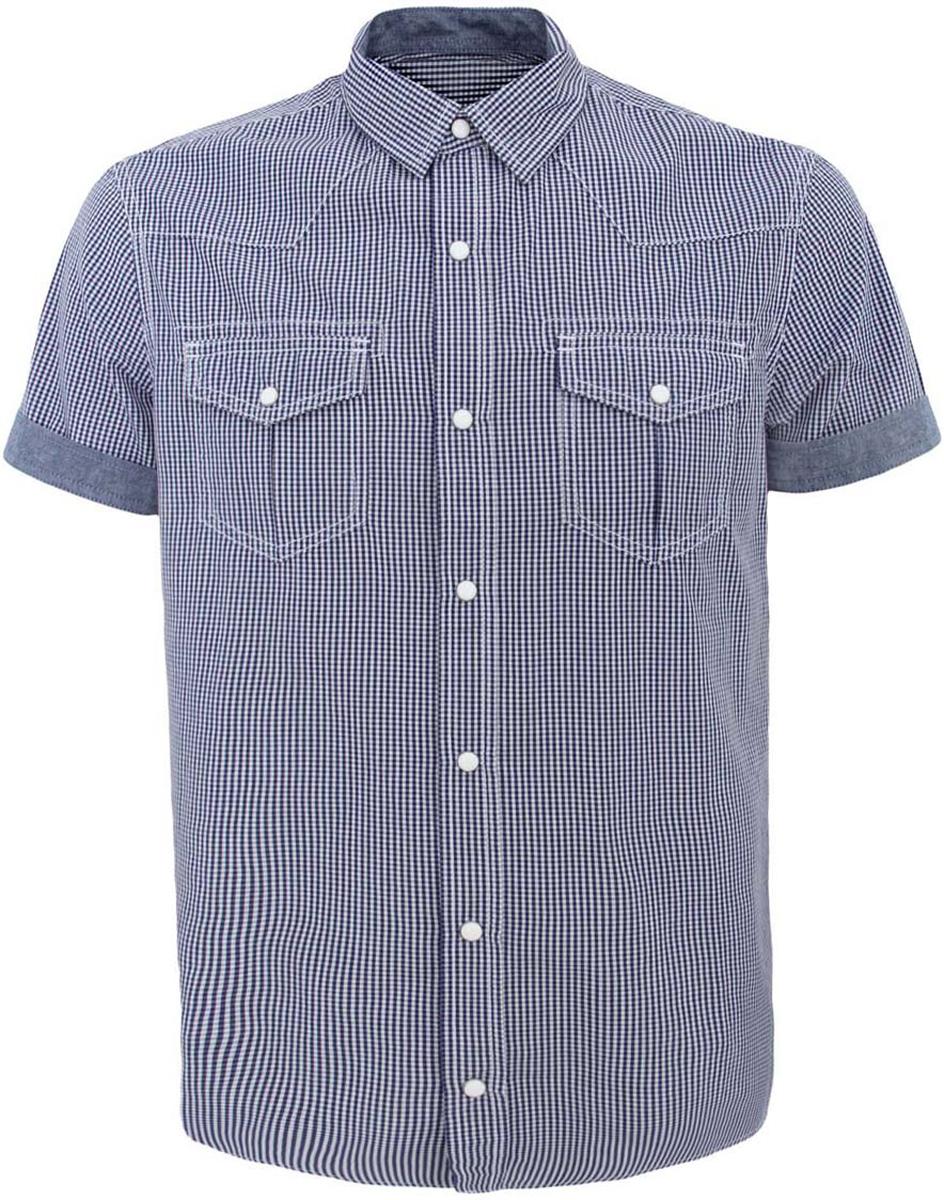 Рубашка мужская oodji Lab, цвет: белый, синий. 3L410072M/44182N/1075C. Размер S-182 (46/48-182)3L410072M/44182N/1075CСтильная мужская рубашка oodji Lab выполнена из натурального хлопка. Модель с отложным воротником и короткими рукавами застегивается на застежки-кнопки по всей длине. Рукава дополнены стильными манжетами. Спереди рубашка оформлена двумя накладными карманами с клапанами на кнопках. Оформлена модель модным принтом в мелкую клетку.