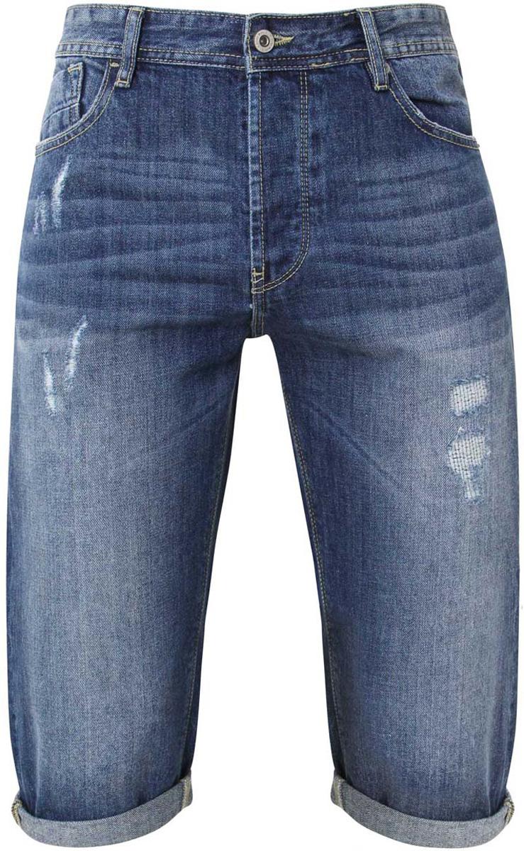 Бриджи мужские oodji, цвет: синий джинс. 6L200008M/39757N/7500W. Размер 29-34 (46-34)6L200008M/39757N/7500WСтильные мужские бриджи oodji Lab с высокой посадкой, изготовленные из хлопка, прекрасно дополнят ваш современный образ.Модель прямого кроя застегивается на четыре пуговицы. Пояс дополнен шлевками для ремня. Бриджи имеют классический пятикарманный крой: спереди модель дополнена двумя втачными карманами с закругленным срезом и одним маленьким накладным кармашком, а сзади - двумя накладными карманами. Модель украшена декоративными потертостями и перманентными складками.