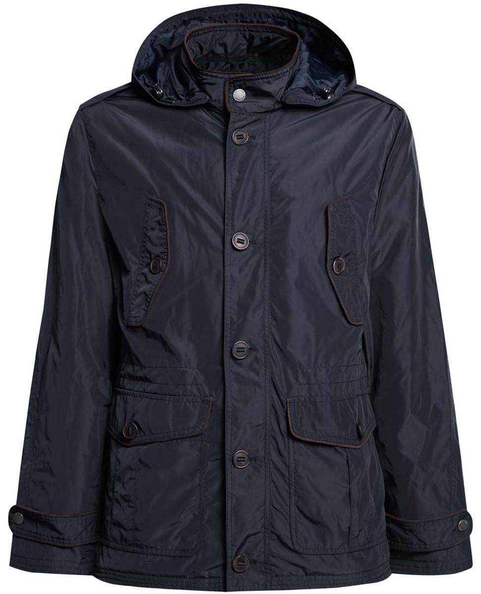 Куртка мужская oodji, цвет: темно-синий. 1L412019M/44080N/7900N. Размер L (52/54-182)1L412019M/44080N/7900NМужская куртка с утеплителем oodji изготовлена из полиэстера. Модель застёгивается на застежку-молнию, пуговицы и кнопку на воротнике. С внутренней стороны куртки в районе талии имеется утягивающая резинка с фиксаторами. Капюшон пристегнут на молнию, его размер фиксируется резинкой-утяжкой и хлястиком.Спереди расположено четыре кармана под клапанами на пуговицах. С внутренней стороны куртки расположен врезной карман на застежке-молнии. По низу рукава дополнены хлястиками и кнопками для регулировки ширины.