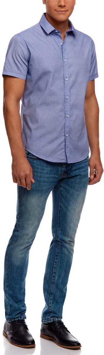 Рубашка мужская oodji Lab, цвет: синий, белый. 3L210038M/19370N/7510G. Размер 41-182 (50-182)3L210038M/19370N/7510GРубашка oodji Lab выполнена из натурального хлопка и оформлена оригинальным принтом. Модель с отложным воротником и коротким рукавом застегивается с помощью пуговиц.
