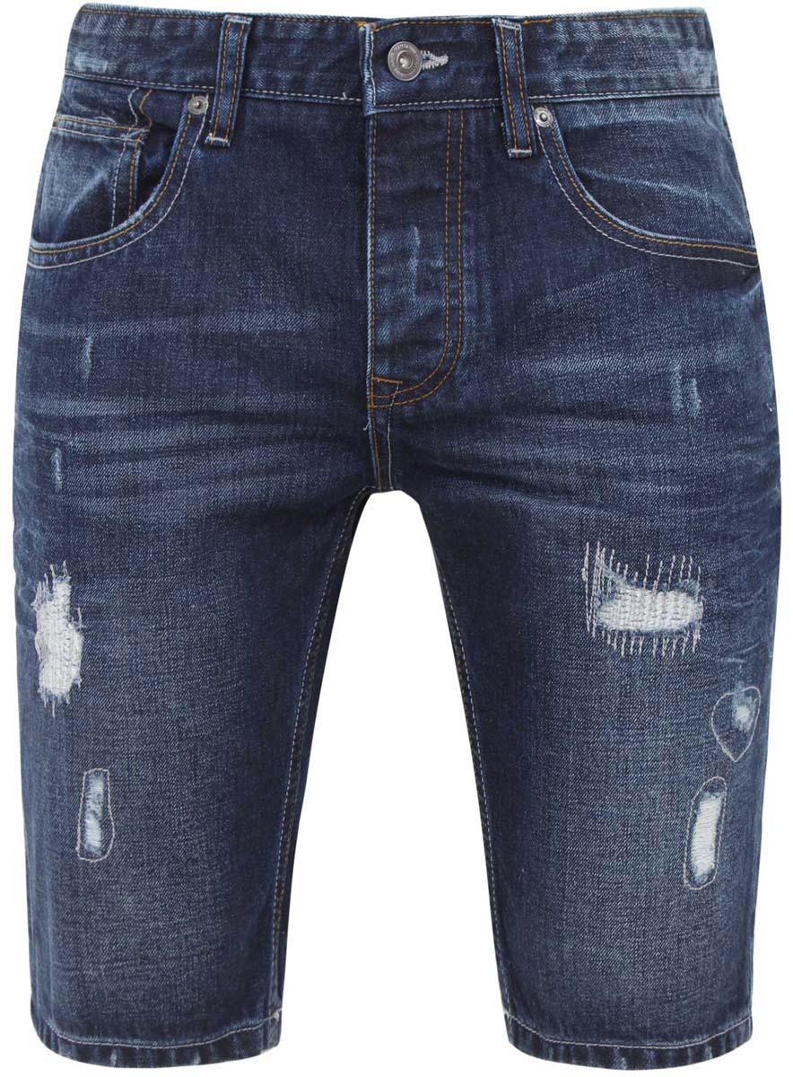 Шорты мужские oodji Lab, цвет: синий джинс. 6L220009M/39661N/7500W. Размер 34-32 (54-32)6L220009M/39661N/7500WСтильные и практичные мужские джинсовые шорты oodji Lab выполнены из натурального хлопка. Шорты застегиваются на ширинку на застежке-молнии, а также пуговицу на поясе. На поясе расположены шлевки для ремня. Шорты имеют классический пятикарманный крой, они оснащены двумя втачными карманами,небольшим накладным кармашком спереди и двумя втачными карманами сзади. Оформлена модель потертостями.