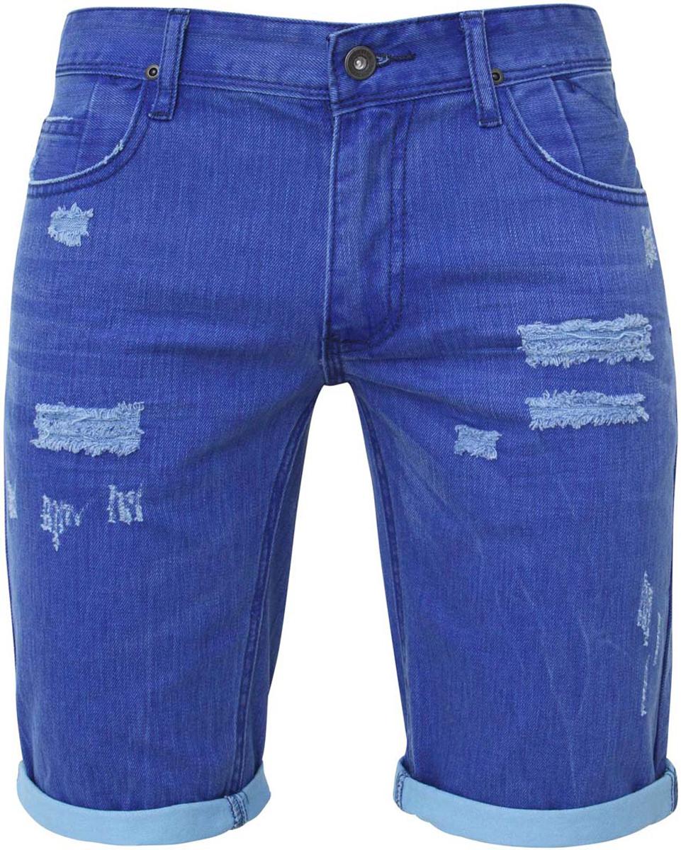Шорты мужские oodji, цвет: синий, голубой джинс. 6L210018M/24960N/7570W. Размер 33-34 (52-34)6L210018M/24960N/7570WСтильные и практичные мужские джинсовые шорты oodji выполнены из натурального хлопка. Шорты застегиваются на ширинку на застежке-молнии, а также пуговицу на поясе. На поясе расположены шлевки для ремня. Шорты имеют классический пятикарманный крой, они оснащены двумя втачными карманами, небольшим накладным кармашком спереди и двумя втачными карманами сзади. Оформлена модель потертостями.