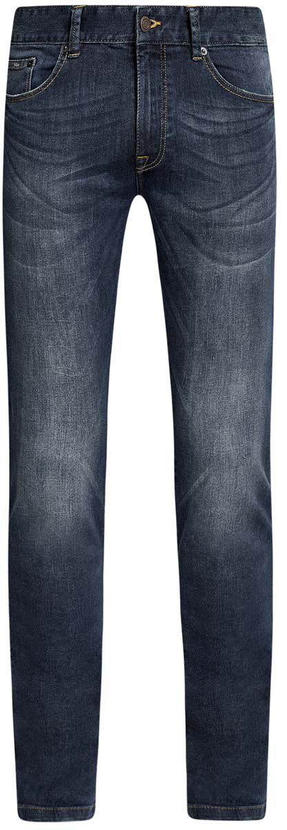 Джинсы мужские oodji, цвет: синий джинс. 6B120042M/45808/7500W. Размер 29-32 (46-32)6B120042M/45808/7500WСтильные мужские джинсы oodji изготовлены из хлопка с добавлением полиуретана.Джинсы-слим средней посадки застегиваются на пуговицы и молнию. На поясе имеются шлевки для ремня. Спереди модель дополнена двумя втачными карманами и одним небольшим накладным кармашком, а сзади - двумя накладными карманами. Модель оформлена эффектом потертости и перманентными складками.