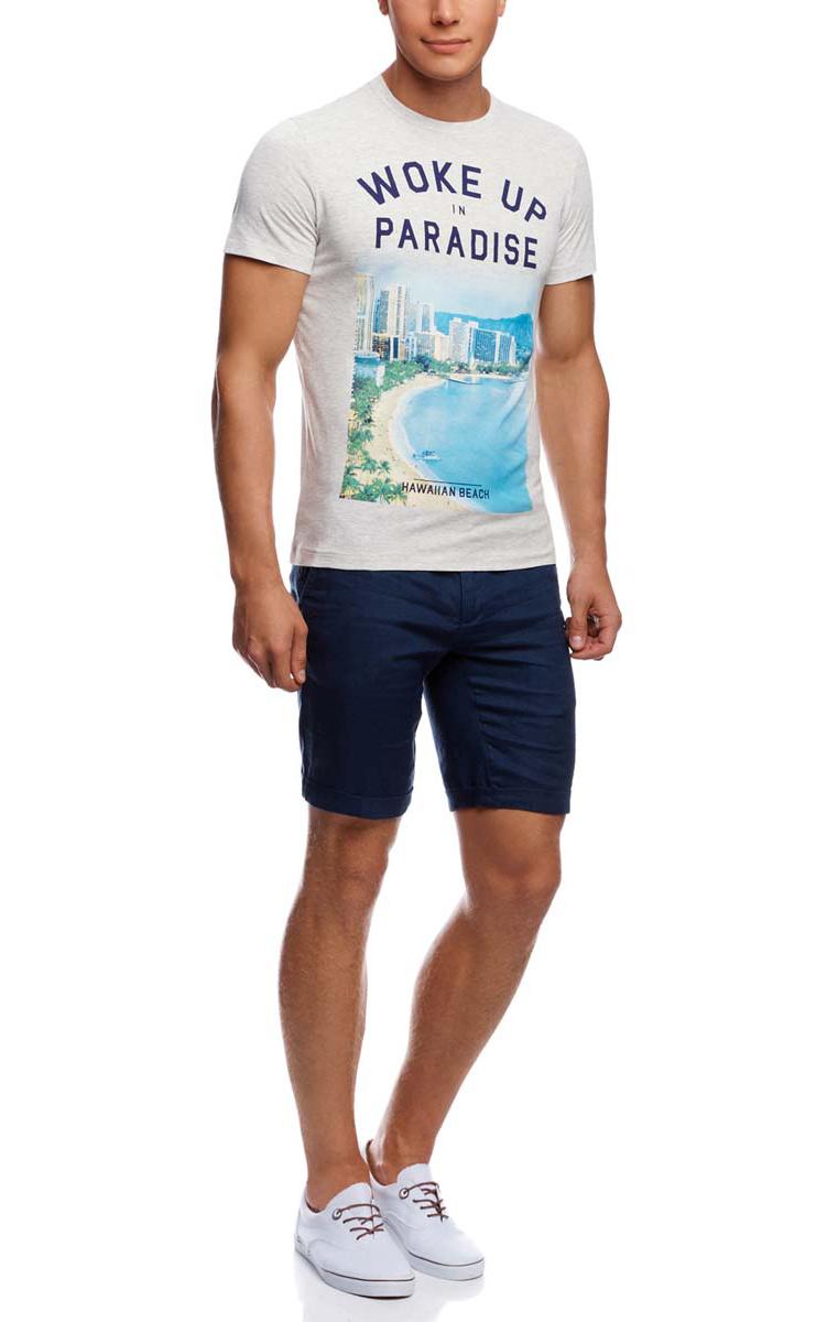 Футболка мужская oodji, цвет: светло-серый. 5L611282M/39272N/2075P. Размер S (46/48)5L611282M/39272N/2075PМужская футболка oodji изготовлена из натурального высококачественного хлопка с добавлением вискозы. Выполнена с круглым воротом и классическими короткими рукавами. Оформлена принтом с изображением пляжа и надписями на английском языке.