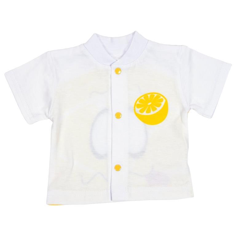 Кофточка детская Клякса Лимон, цвет: белый, желтый. 11Л-202. Размер 6211Л-202Детская кофточка Клякса Лимон выполнена из натурального хлопка. Модель с короткими рукавами имеет круглый вырез горловины, дополненный мягкой трикотажной резинкой. Удобные застежки-кнопки по всей длине помогают легко переодеть ребенка. Оформлено изделие ярким оригинальным принтом.
