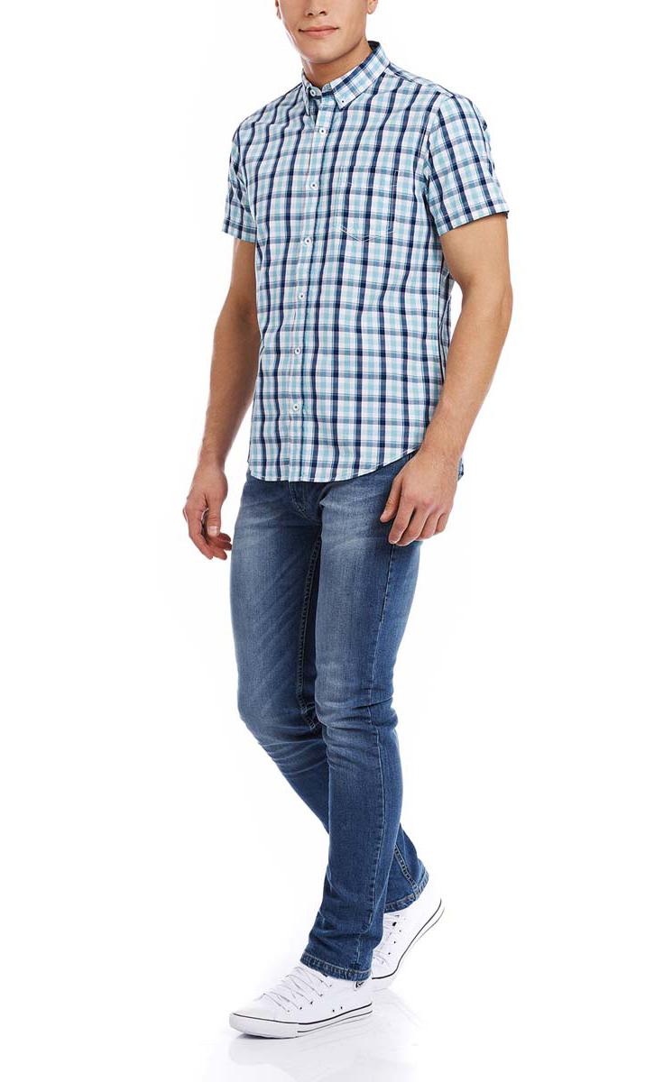 Рубашка мужская oodji, цвет: белый, бирюзовый. 3L410081M/34319N/1073C. Размер M-182 (50-182)3L410081M/34319N/1073CМужская рубашка oodji выполнена из натурального хлопка. Рубашка с короткими рукавами и отложным воротником застегивается на пуговицы спереди.На груди модель дополнена накладным карманом. Оформлено изделие принтом в клетку.