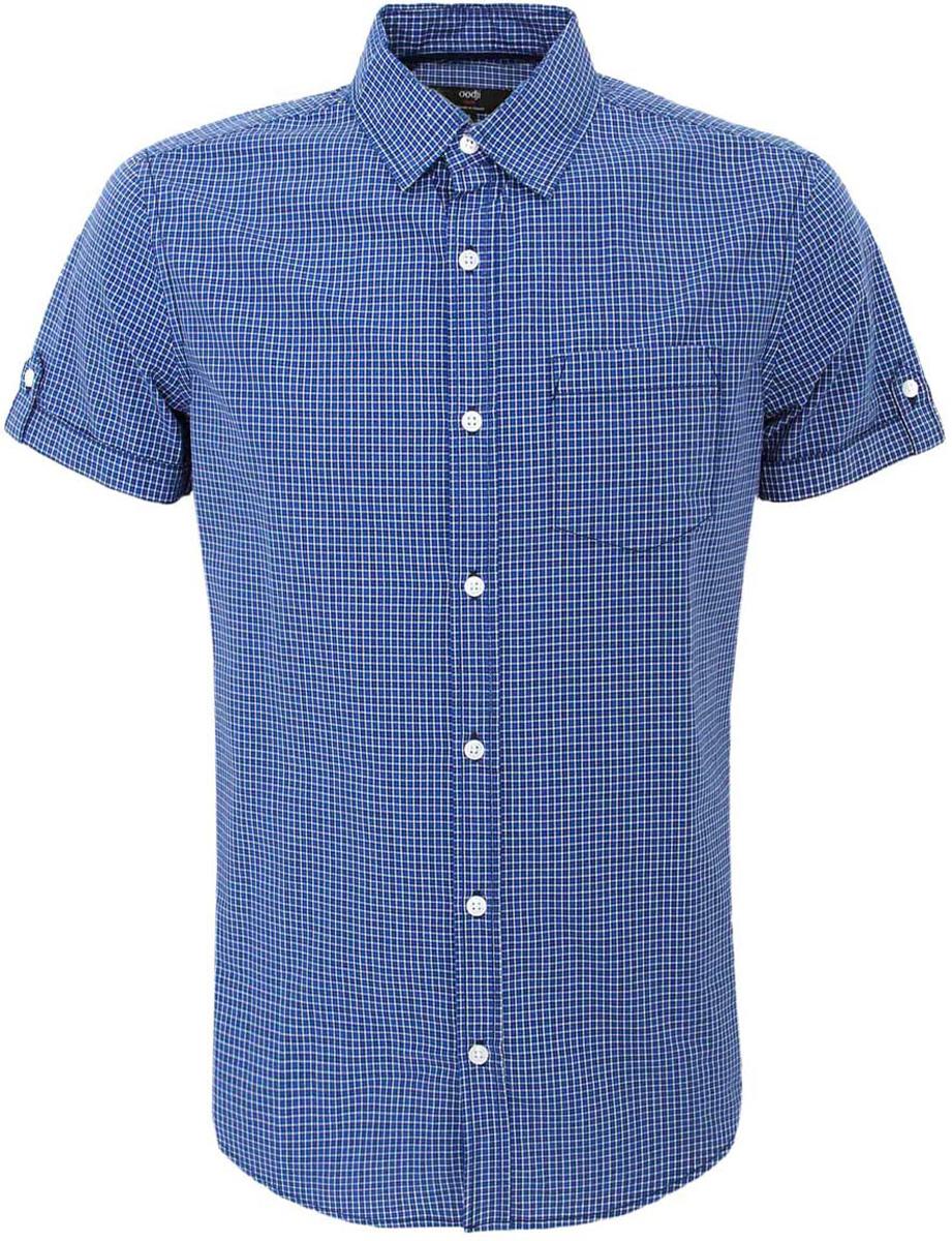 Рубашка мужская oodji, цвет: синий, белый. 3L410073M/44183N/7510C. Размер XL-182 (56-182)3L410073M/44183N/7510CМужская рубашка oodji Basic из натурального хлопка скроена по классическому силуэту и плотно садится по фигуре. Имеет слева на груди карман, короткие рукава, застегивается на пуговицы спереди и на манжетах. Одна запасная пуговица подшита с обратной стороны полы.