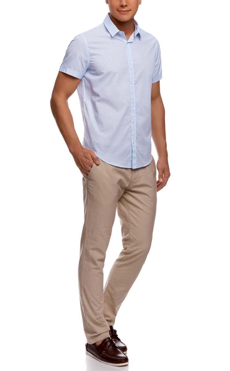 Рубашка мужская oodji, цвет: белый, голубой. 3L210034M/24967N/1070G. Размер 37-182 (42-182)3L210034M/24967N/1070GМужская рубашка oodji из натурального хлопка скроена по классическому силуэту и плотно садится по фигуре. Имеет скругленный низ, короткие рукава, застегивается на пуговицы спереди. Одна запасная пуговица подшита с обратной стороны полы.