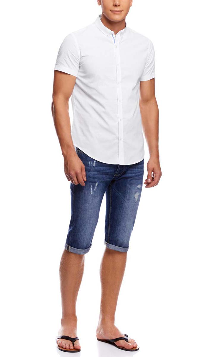 Рубашка мужская oodji, цвет: белый. 3L210032M/44263N/1000O. Размер 39-182 (46-182)3L210032M/44263N/1000OМужская рубашка oodji из натурального хлопка имеет короткие рукава, застегивается на пуговицы спереди. На лацканах и сзади воротничка так же имеются пуговицы. Две запасные подшиты с обратной стороны полы.