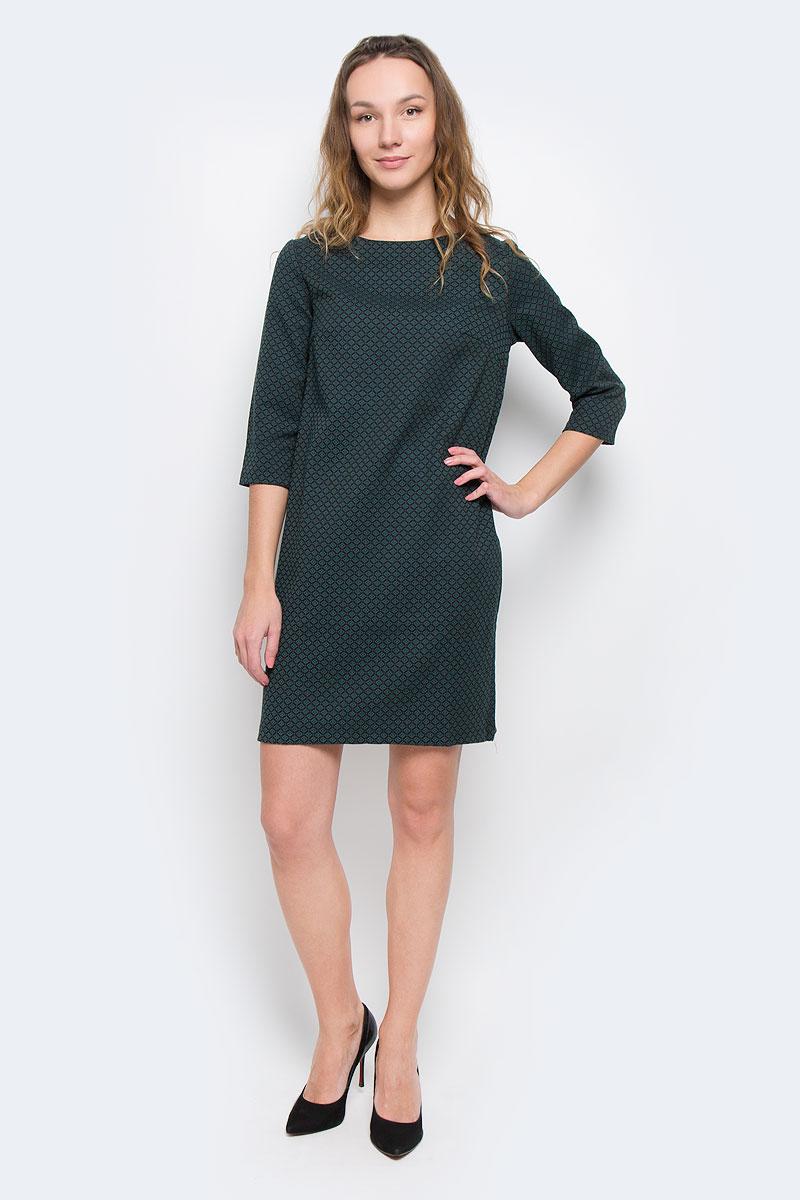 Платье Baon, цвет: коричневый, зеленый. B455509. Размер L (48)B455509Стильное платье Baon придаст очарование и женственность своей обладательнице. Модель свободного кроя, выполнена из трикотажа средней плотности. Платье с круглым вырезом горловины и рукавами длиной 3/4. Материал оформлен жаккардовым рисунком. На груди расположены вытачки. Застёгивается изделие на металлическую молнию на спинке.Изысканный наряд создаст обворожительный неповторимый образ.