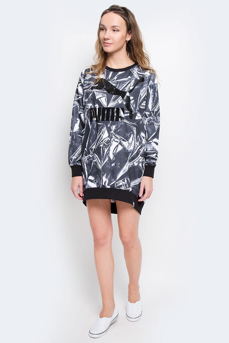 Платье Puma AOP Dress, цвет: черный, белый. 57147724. Размер M (46)571477_24Платье Puma AOP Dress выполнено из хлопкового трикотажа. Модель с круглым вырезом, рукавами-реглан дополнена двумя карманами по бокам.