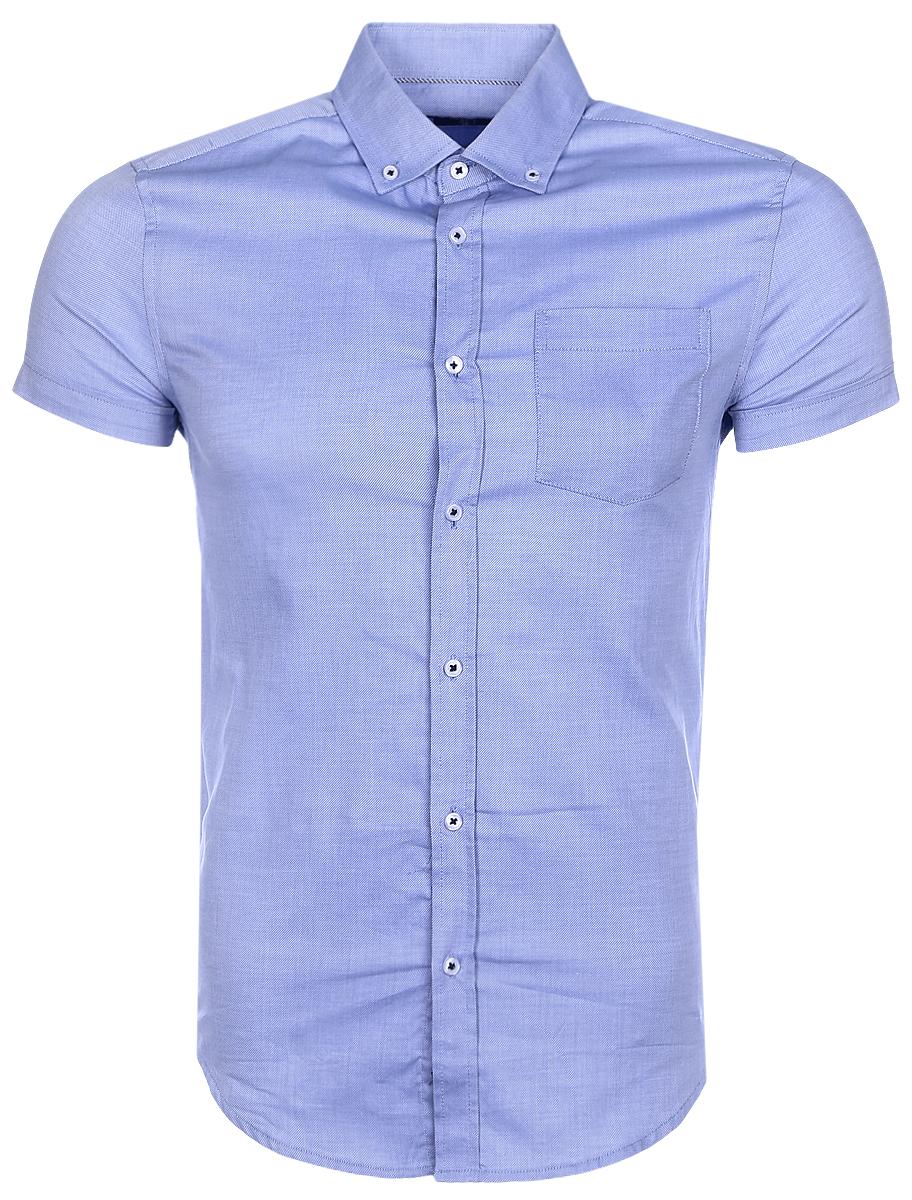 Рубашка мужская oodji Basic, цвет: сине-голубой. 3B210007M/34246N/7000N. Размер 39-182 (46-182)3B210007M/34246N/7000NМужская рубашка oodji Basic из натурального хлопка скроена по классическому силуэту и плотно садится по фигуре. Модель с короткими рукавами имеет слева на груди накладной карман. Рубашка застегивается на пуговицы спереди и на воротничке. Две запасные пуговицы подшиты с обратной стороны полы.