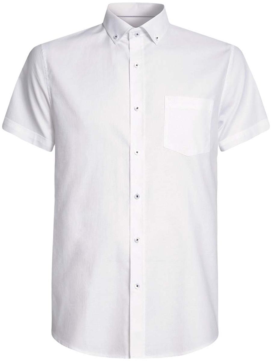 Рубашка мужская oodji Basic, цвет: белый. 3B210007M/34246N/1000N. Размер 39-182 (46-182)3B210007M/34246N/1000NМужская рубашка oodji Basic из натурального хлопка скроена по классическому силуэту и плотно садится по фигуре. Модель с короткими рукавами имеет слева на груди накладной карман. Рубашка застегивается на пуговицы спереди и на воротничке. Две запасные пуговицы подшиты с обратной стороны полы.