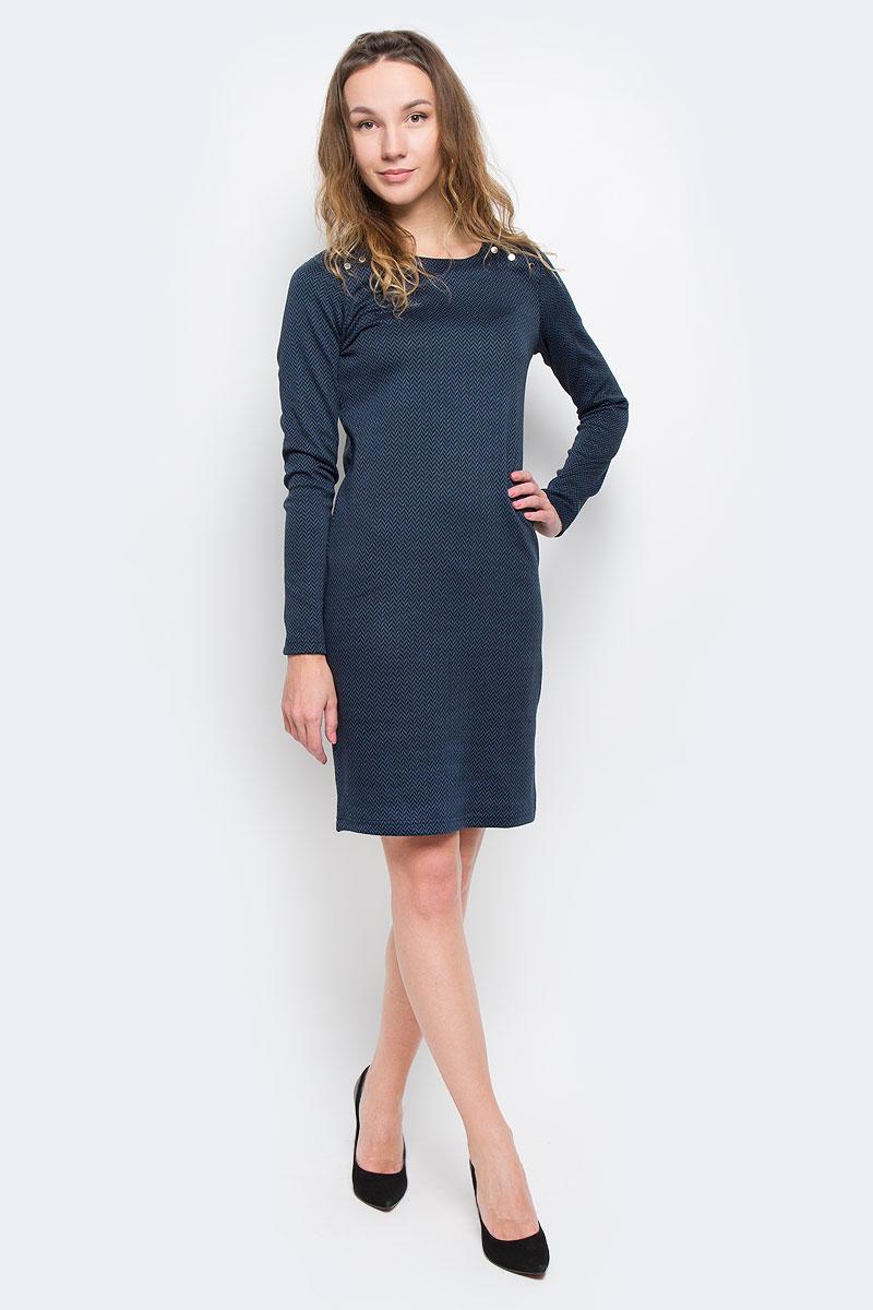 Платье Finn Flare, цвет: темно-синий. W15-11028. Размер XS (42)W15-11028Элегантное платье Finn Flare выполнено из эластичного полиэстера. Такое платье обеспечит вам комфорт и удобство при носке.Модель с длинными рукавами и круглым вырезом горловины выгодно подчеркнет все достоинства вашей фигуры благодаря слегка приталенному силуэту. Изделие застегивается на кнопки на плечах. Платье оформлено оригинальным геометрическим принтом. Изысканное платье-миди создаст обворожительный и неповторимый образ.Это модное и удобное платье станет превосходным дополнением к вашему гардеробу, оно подарит вам удобство и поможет вам подчеркнуть свой вкус и неповторимый стиль.