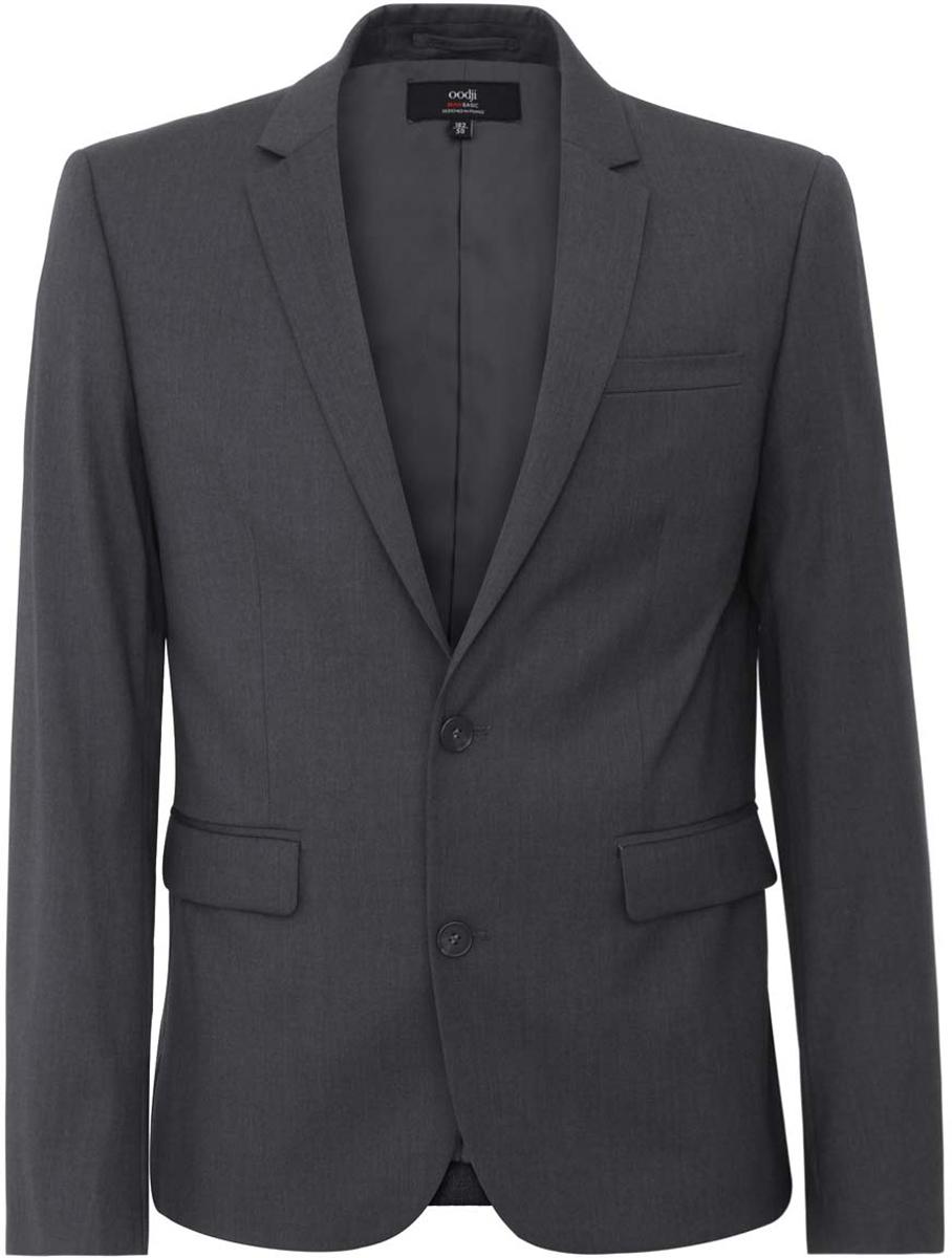 Пиджак мужской oodji Basic, цвет: темно-серый меланж. 2B420009M/34425N/2500M. Размер 46-182 (46-182)2B420009M/34425N/2500MМужской пиджак oodji Basic скроен по классическому силуэту и плотно садится по фигуре. Имеет длинные рукава, воротник с лацканами и карман слева на груди, два кармана по бокам от талии. Застегивается на пуговицы спереди и на манжетах. Сзади имеется шлица.