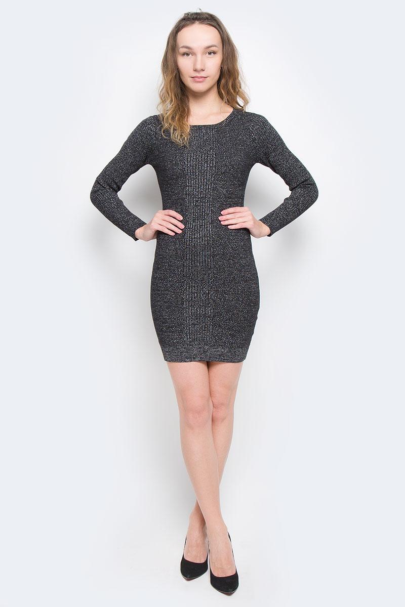 Платье Tom Tailor Denim, цвет: черный. 5019540.01.71_2999. Размер XS (42)5019540.01.71_2999Платье Tom Tailor Denim выполнено из хлопка, полиамида и металлизированной нити. Модель с круглым вырезом горловины и длинными стандартными рукавами. Низ и манжеты дополнены эластичными нетугими резинками.