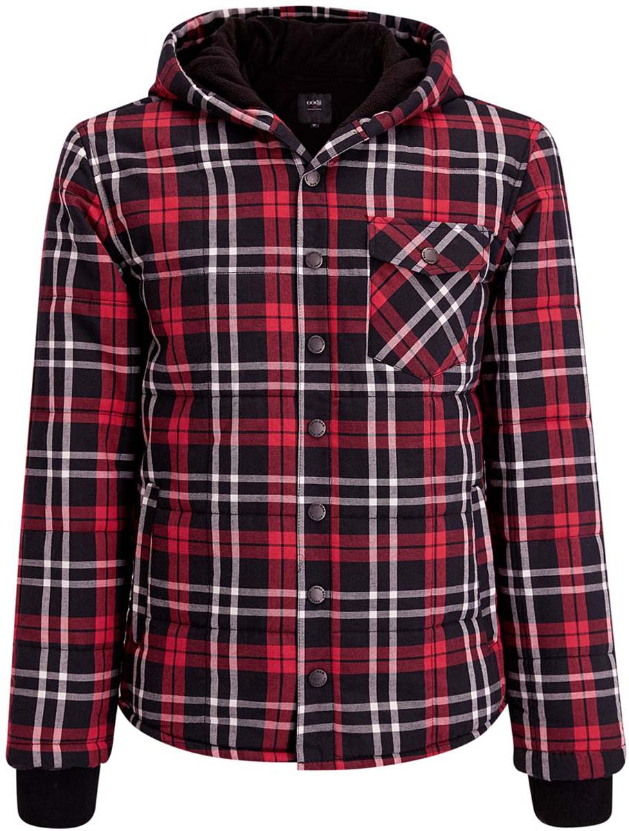 Куртка мужская oodji, цвет: черный, красный. 1L511046M/44433N/2945C. Размер L-182 (52/54-182)1L511046M/44433N/2945CМужская куртка oodji выполнена из натурального хлопка. В качестве утеплителя используется полиэстер. Внутри уютная флисовая подкладка. Куртка с несъемным капюшоном застегивается на металлические кнопки. На рукавах предусмотрены широкие эластичные манжеты. Спереди имеются два втачных кармана и один накладной карман с клапаном на металлической кнопке. Оформлено изделие принтом в клетку.