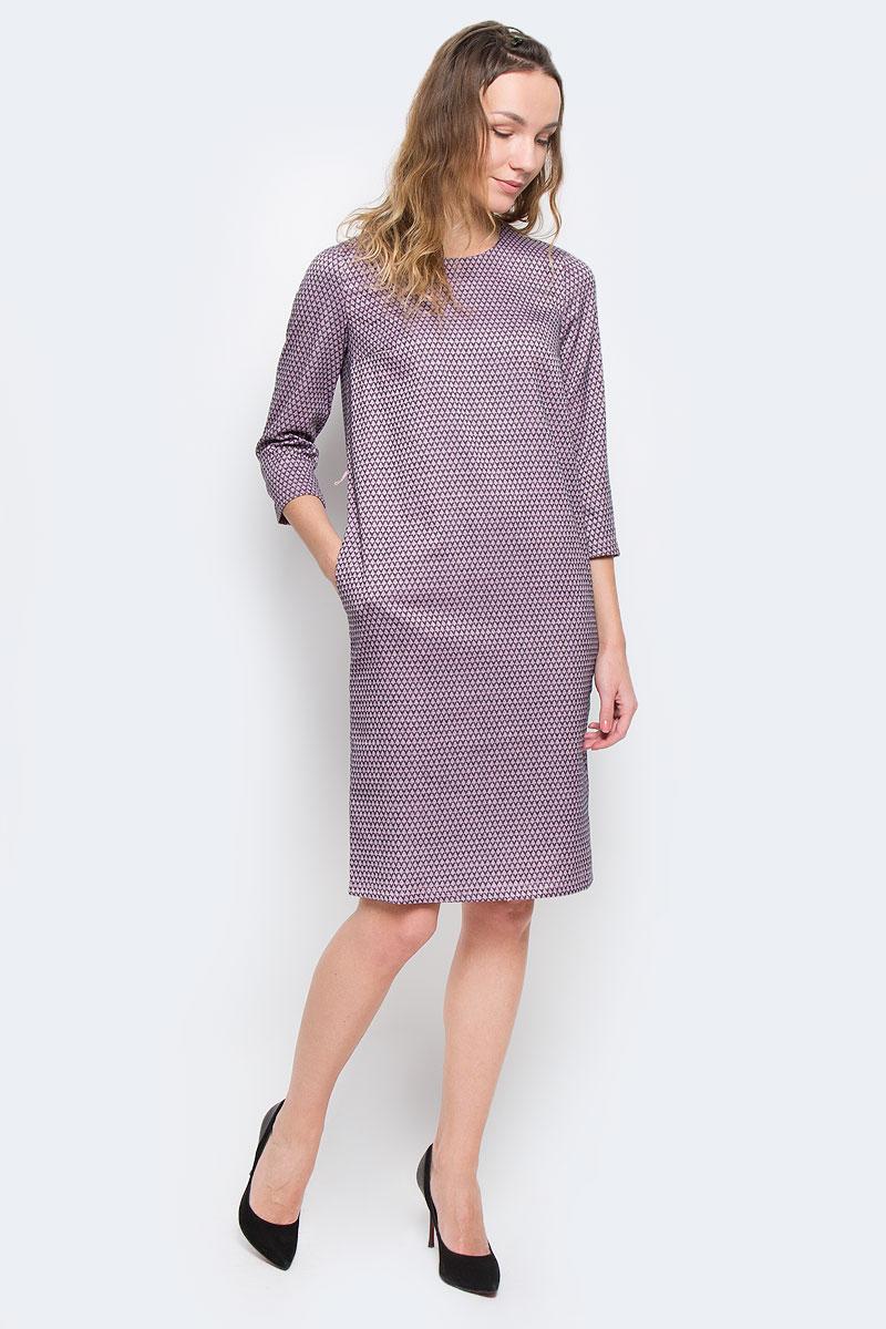 Платье Finn Flare, цвет: сиреневый, темно-синий. W15-11031. Размер XS (42)W15-11031Очаровательное платье Finn Flare прямого кроя из мягкого плотного трикотажа подойдет не только для повседневной носки, но и с легкостью поможет создать романтический образ. Модель с круглым вырезом горловины и рукавами 3/4 выполнена из хлопка с добавлением вискозы. На спинке модель застегивается на скрытую застежку-молнию. Платье дополнено тонким ремешком из искусственной кожи. Это стильное платье подарит вам комфорт и станет отличным дополнением к вашему гардеробу.