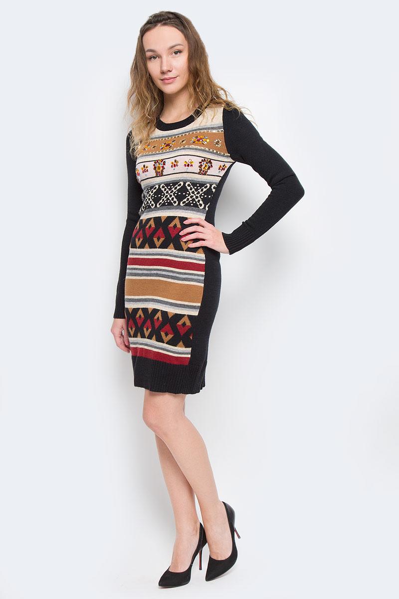 Платье Baon, цвет: черный, бордовый, песочный. B455544. Размер XS (42)B455544Вязаное женское платье Baon приталенного кроя идеально идеальное решение в прохладное время года. Изготовленное из акрила, полиамида с добавлением ангоры, оно теплое и приятное на ощупь, не сковывает движения и позволяет коже дышать, не раздражает даже самую нежную и чувствительную кожу. Вязаное платье с длинными рукавами и круглым вырезом горловины оформлено актуальным орнаментом. Грудь украшена обилием узоров из декоративных пластиковых камней. Рукава, вырез горловины и низ платья связаны резинкой.Платье Baon послужит отличным дополнением к гардеробу любой модницы. В нем она будет чувствовать себя уютно и комфортно, и всегда будет в центре внимания!