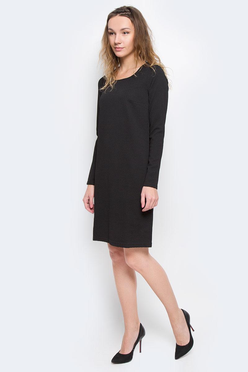 Платье Finn Flare, цвет: черный. W15-11026. Размер XS (42)W15-11026Элегантное платье Finn Flare выполнено из эластичного полиэстера. Такое платье обеспечит вам комфорт и удобство при носке.Модель с длинными рукавами и круглым вырезом горловины выгодно подчеркнет все достоинства вашей фигуры. Платье оформлено оригинальным рельефным узором. Изысканное однотонное платье-миди создаст обворожительный и неповторимый образ.Это модное и удобное платье станет превосходным дополнением к вашему гардеробу, оно подарит вам удобство и поможет вам подчеркнуть свой вкус и неповторимый стиль.