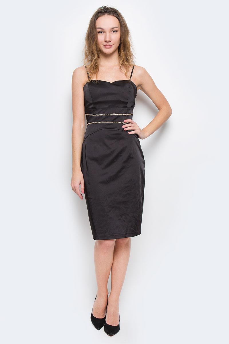 Платье Topsandtops, цвет: черный. 59393-141207T. Размер 40 (46)59393-141207TСтрогое, но одновременно игривое платье Topsandtops, выполненное из высококачественного материала - хлопка и полиэстера, будет отлично смотреться на вас. Модель облегающего кроя, с тонкими регулируемыми бретелями и необычным вырезом на спине застегивается сбоку на потайную застежку-молнию. Уплотненный лиф с поддерживающими чашечками для ношения без бюстгальтера. Спереди изделие украшено декоративной металлической цепочкой. Это платье отличный вариант для вашего гардероба. Идеальный вариант для создания эффектного образа.