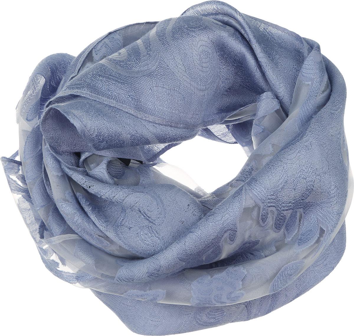 Палантин женский Sophie Ramage, цвет: сине-голубой. YY-21658-25. Размер 70 см х 180 смYY-21658-25Элегантный палантин Sophie Ramage станет достойным завершением вашего образа. Палантин изготовлен из шелка с добавлением вискозы. Оформлена модель вставками из полупрозрачного материала и стильным узором. Палантин красиво драпируется, он превосходно дополнит любой наряд и подчеркнет ваш изысканный вкус. Легкий и изящный палантин привнесет в ваш образ утонченность и шарм.