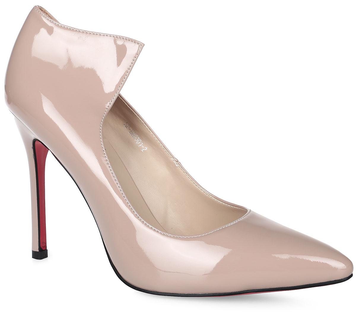 Туфли женские LK Collection, цвет: бежевый. SP-BA0301-2. Размер 38SP-BA0301-2Элегантные туфли выполнены из искусственной лаковой кожи. Стелька выполнена из натуральной кожи, которая обеспечит комфорт при движении и предотвратит натирание. Модель оснащена высоким тонким каблуком. Подошва выполнена из термопластичного материала.