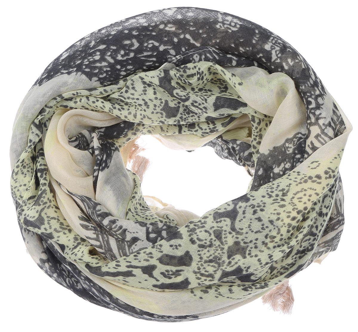 Палантин Sophie Ramage, цвет: желтый, темно-серый. YY-21667-38. Размер 100 см х 180 смYY-21667-38Элегантный палантин Sophie Ramage изготовлен из высококачественного модала с добавлением шелка. Оформлена модель стильным принтом с узорами и дополнена по краям бахромой в виде пушистых кисточек. Палантин красиво драпируется, он превосходно дополнит любой наряд и подчеркнет ваш изысканный вкус.