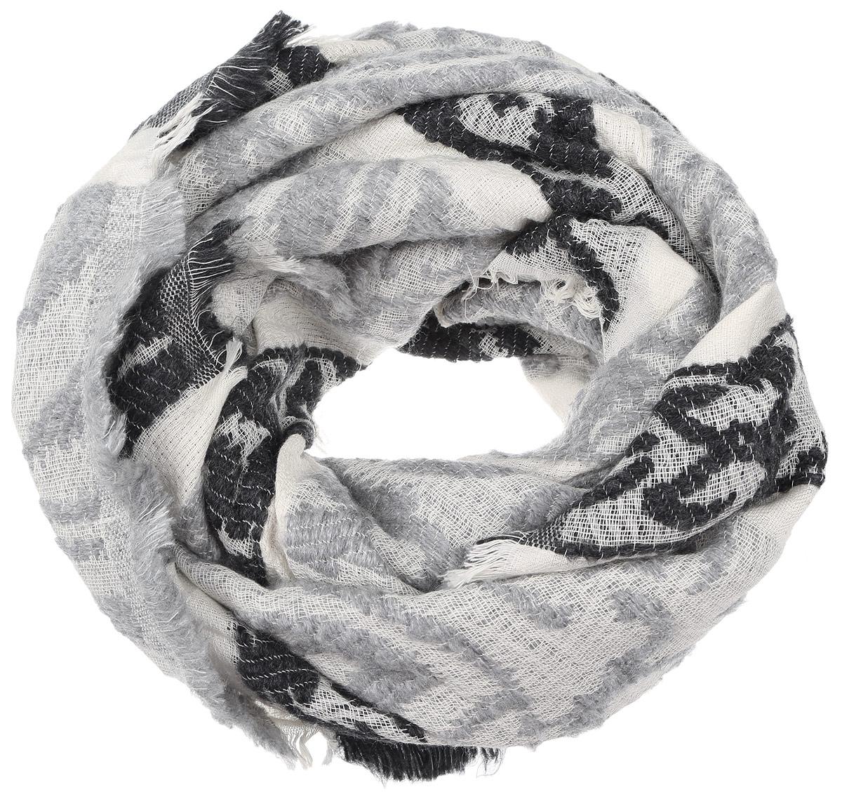 Палантин Paccia, цвет: серый, молочный, черный. IS-21601-6. Размер 70 см х 180 смIS-21601-6Элегантный палантин Paccia изготовлен из сочетания высококачественной шерсти и хлопка. Мягкая и теплая модель оформлена вязкой с узорами и дополнена тонкой бахромой по краю. Палантин красиво драпируется, он превосходно дополнит любой наряд и подчеркнет ваш изысканный вкус.