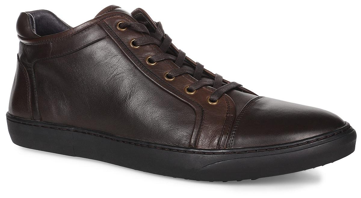 Ботинки мужские Paolo Conte, цвет: темно-коричневый. 91-201-02-5. Размер 4091-201-02-5Мужские ботинки от Paolo Conte выполнены из натуральной кожи. Модель на застежке-молнии, подъем дополнен шнуровкой. Подкладка и стелька изготовлены из байки. Резиновая подошва оснащена рифлением.