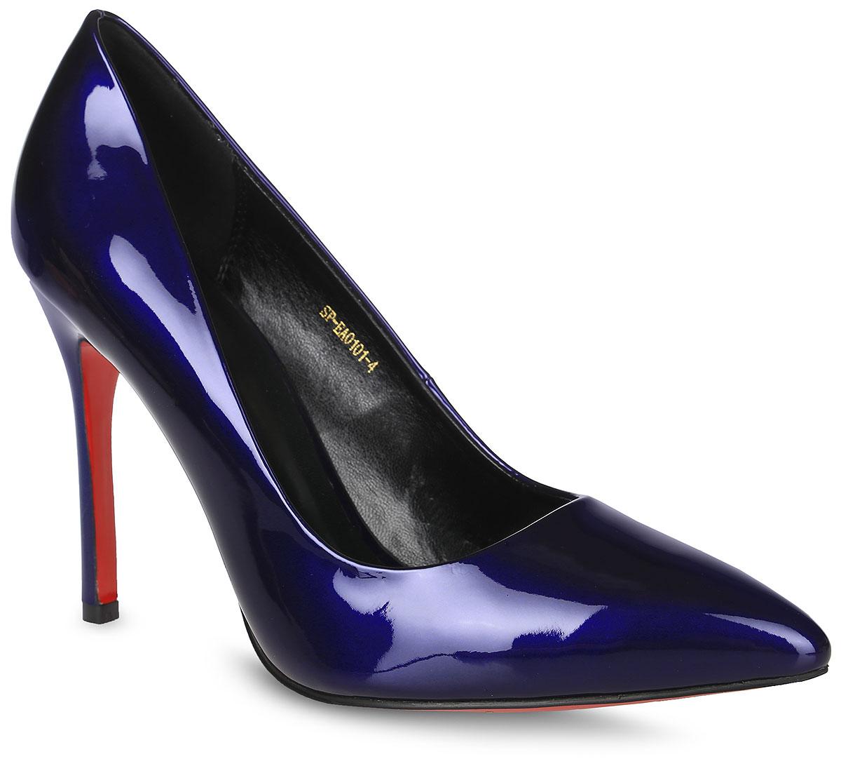 Туфли женские LK Collection, цвет: синий. SP-EA0101-4. Размер 40SP-EA0101-4Элегантные туфли выполнены из искусственной лаковой кожи. Стелька выполнена из натуральной кожи, которая обеспечит комфорт при движении и предотвратит натирание. Модель оснащена высоким каблуком шпилькой. Подошва выполнена из термопластичного материала.