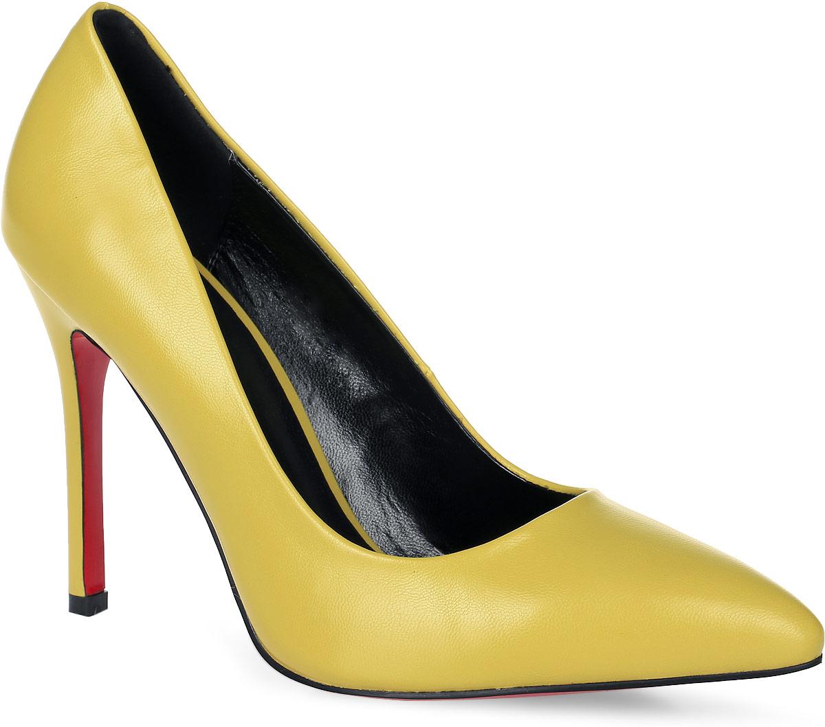 Туфли женские LK Collection, цвет: желтый. SP-EA0101-7. Размер 39SP-EA0101-7Элегантные туфли выполнены из искусственной кожи. Стелька выполнена из натуральной кожи, которая обеспечит комфорт при движении и предотвратит натирание. Модель оснащена высоким каблуком - шпилькой. Подошва выполнена из термопластичного материала.