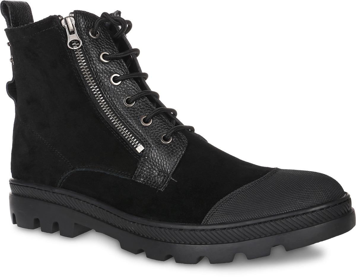 Ботинки мужcкие Paolo Conte, цвет: черный. 91-204-02-6. Размер 4091-204-02-6Мужские ботинки от Paolo Conte выполнены из натуральной кожи со вставками из натурального велюра. Подъем модели оформлен шнуровкой и застежками-молниями. Подкладка и стелька изготовлены из шерсти. Резиновая подошва оснащена рифлением.